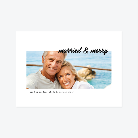 Cornered Holiday Marriage Announcement - Holiday Photo Card - Skipt Paper Co