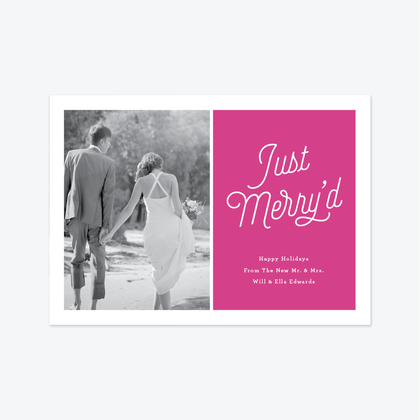 Just Merry'd Holiday Marriage Announcement - Holiday Photo Card - by Up Up Creative for Skipt Paper Co.