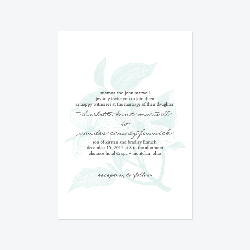 Modern Engraving Wedding Invitation Suite - Invitation - by Up Up Creative for Skipt Paper Co.