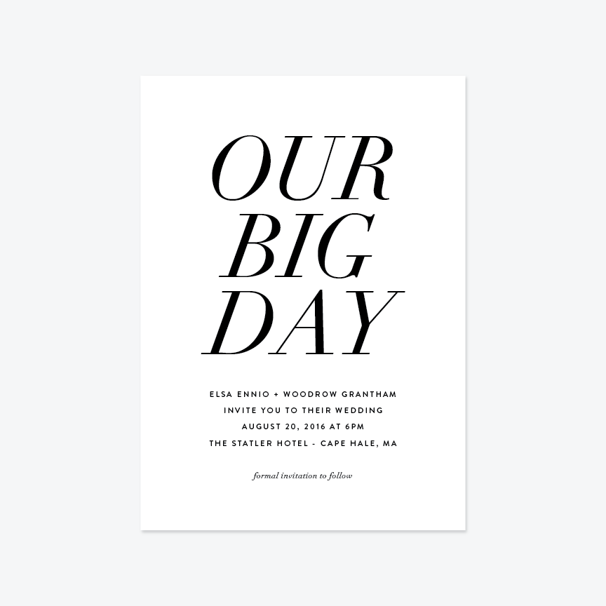 Our Big Day Wedding Invitation Suite - Invitation - by Up Up Creative for Skipt Paper Co.
