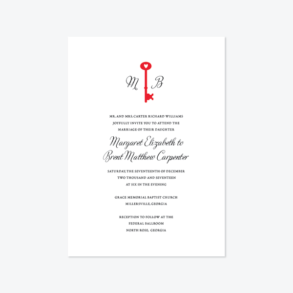 Skeleton Key Wedding Invitation Suite - Invitation - by Skipt Paper Co for Skipt Paper Co.