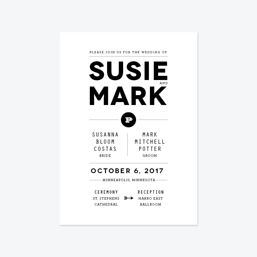Modern Tuxedo Wedding Invitation Suite - Invitation - by Up Up Creative for Skipt Paper Co.