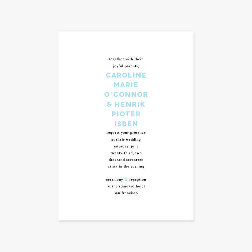 Type Nine Wedding Invitation Suite - Invitation - by Up Up Creative for Skipt Paper Co.