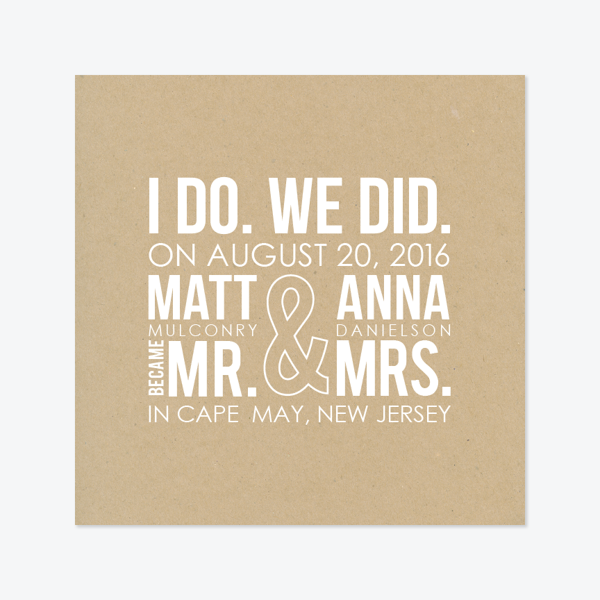 I Do, We Did Elopement Announcement - Non-Photo Elopement Announcement - by Up Up Creative for Skipt Paper Co.