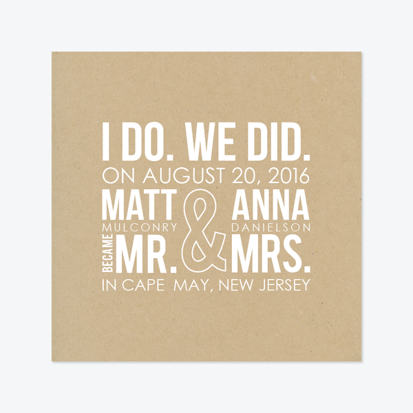 I Do, We Did Elopement Announcement - Non-Photo Elopement Announcement - by Skipt Paper Co for Skipt Paper Co.
