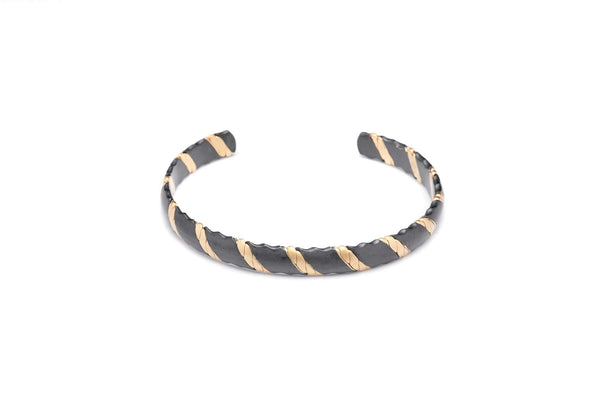Entwined Black & Gold Steel Cuff-TheNobleCircle