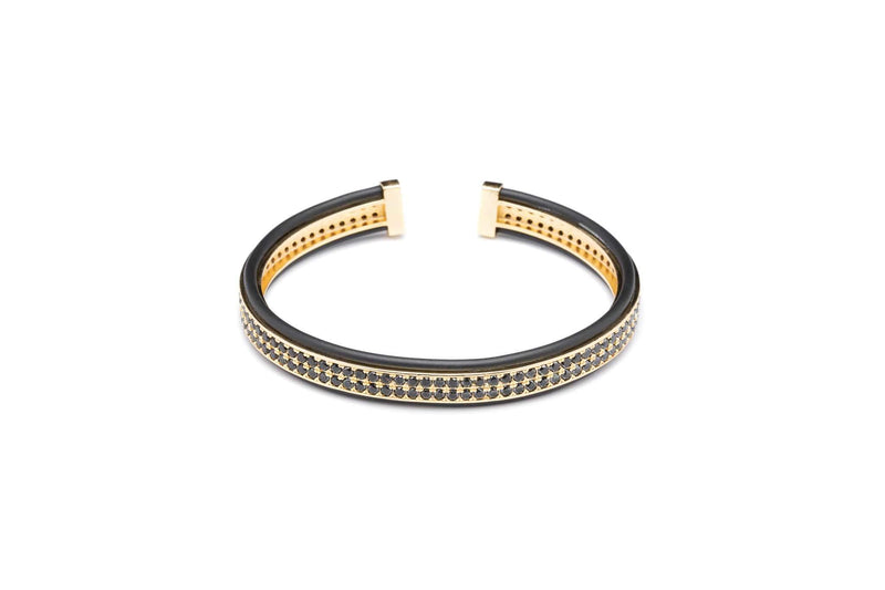 Gold and Black Finite Cuff in Cubic Zirconia-TheNobleCircle