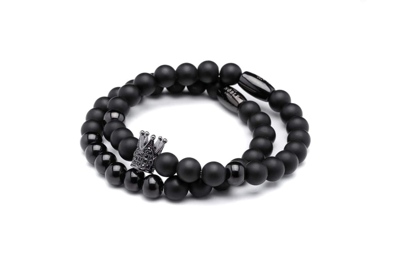 The Kingsman Bracelet in Onyx and Black Steel-TheNobleCircle