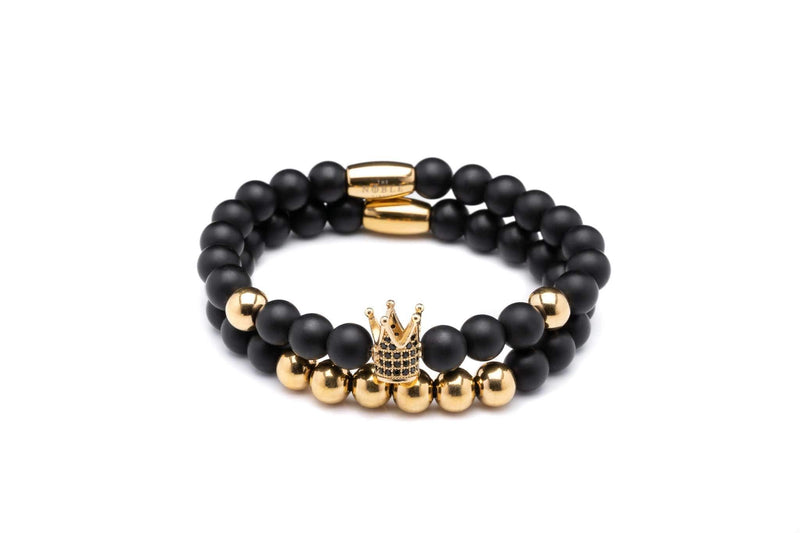 The Kingsman Bracelet in Onyx and Gold Steel-TheNobleCircle