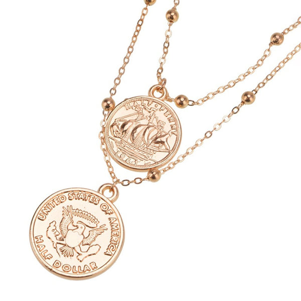 US Eagle Coin Classic Layered Necklace