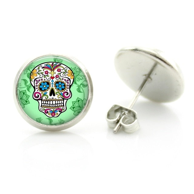 Sugar Skull Glass Cabochon Stud Earrings for Halloween (day of the dead - pendientes hombre)