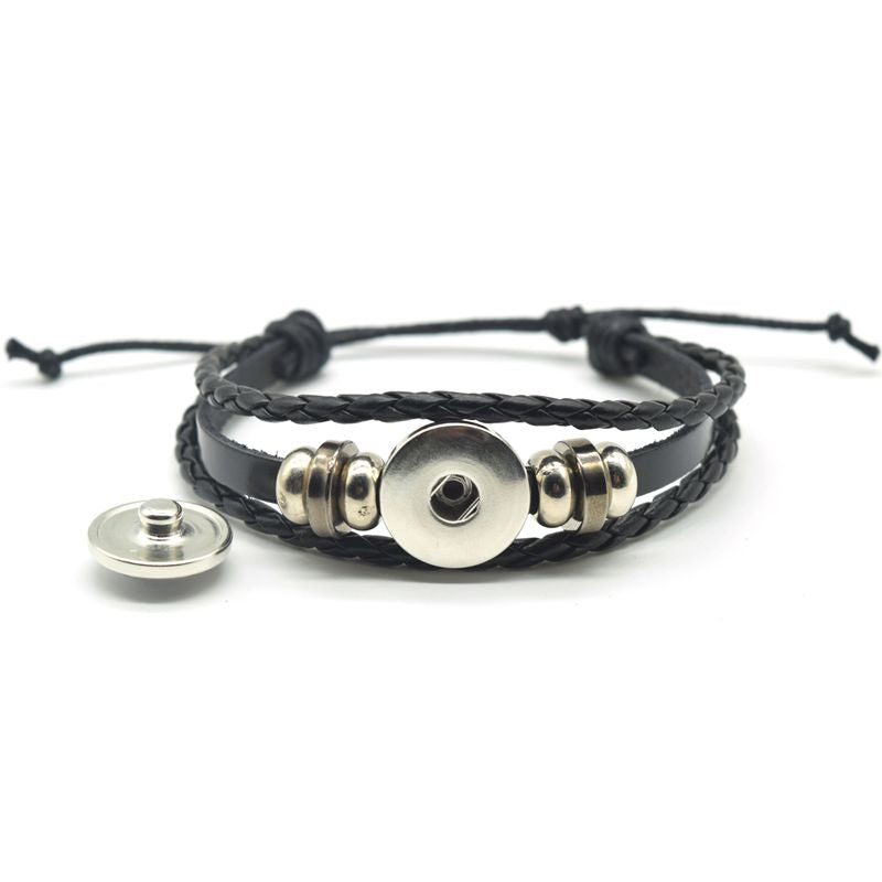 Skull Glass Dome Button Multilayer PU Leather Bracelet