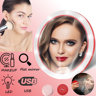 Portable LED Lighted Mini Circular Makeup Compact Travel Mirror with Wireless USB Charging