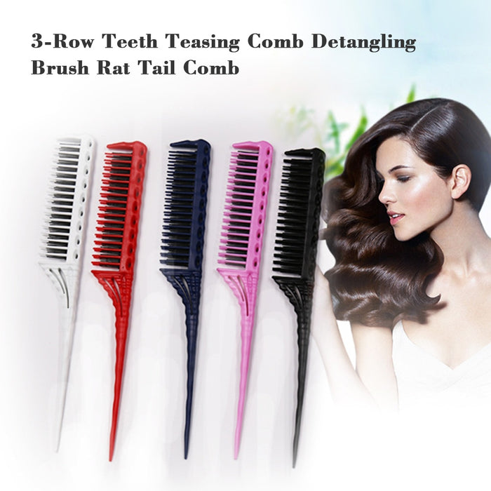 3-Row Detangling Teasing Hair Brush Rat Tail Comb