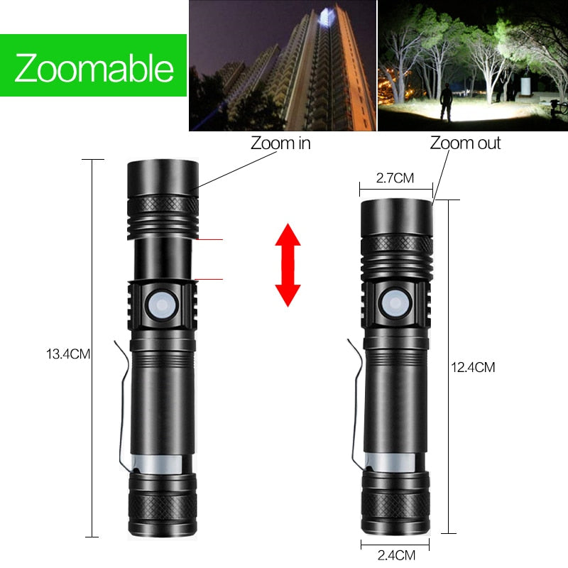 Super Bright USB Rechargeable LED Flashlight
