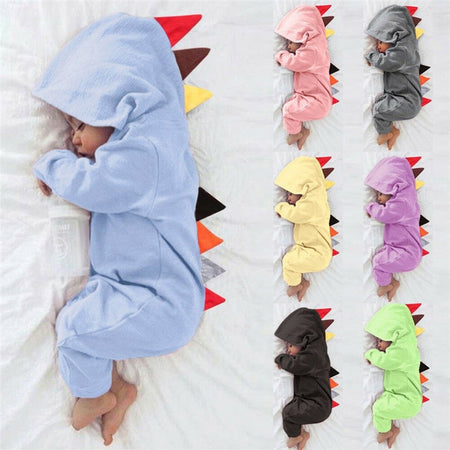 Baby Dinosaur Onesie Long Sleeve Hooded Romper Is Sweet 💖😍