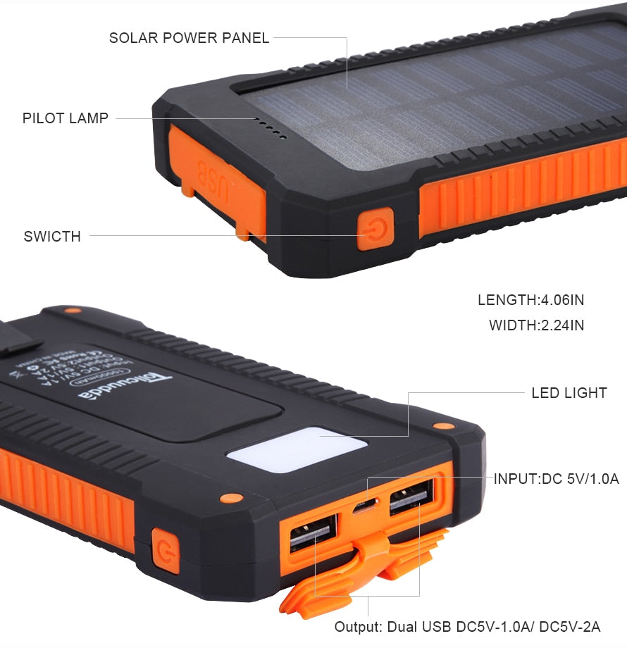 10000 mAh Waterproof Solar Power Bank  W/ 2 USB ports for Smartphone and LED Light