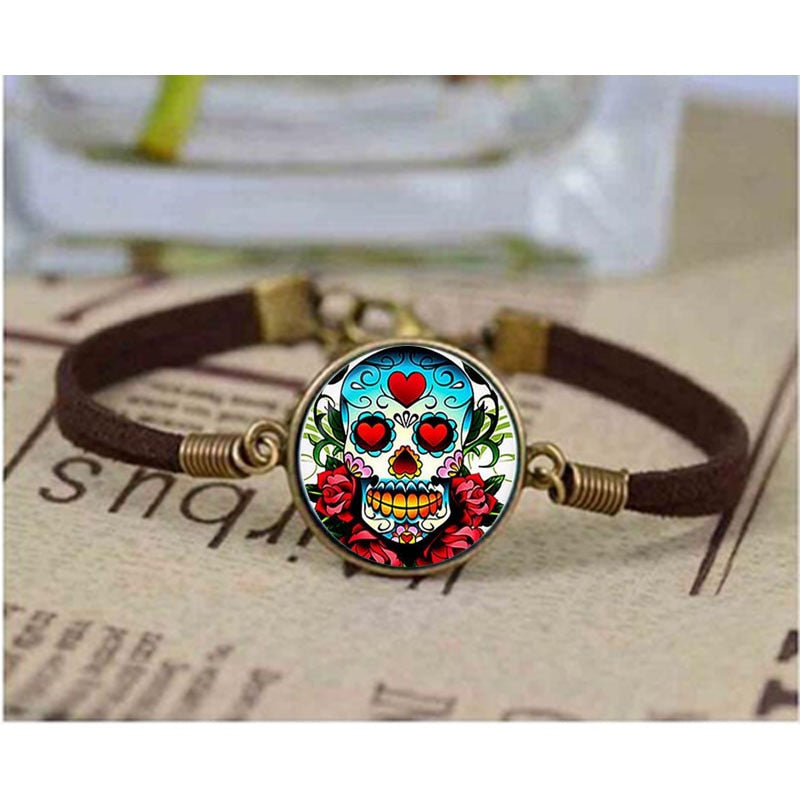 Dia de los Muertos Glass Bracelet - Day of the Dead bracelet.