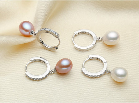 Genuine Natural Freshwater Pearl and 925 Sterling Silver Earrings