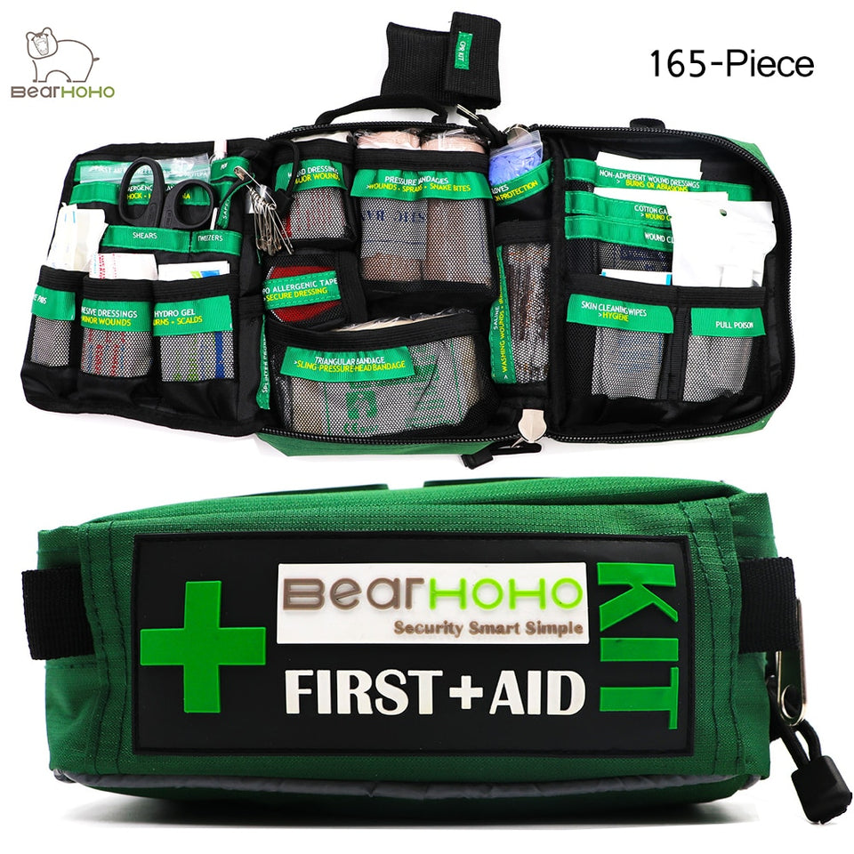 Handy 165-Piece Lightweight Emergency Medical Rescue First Aid Kit Bag