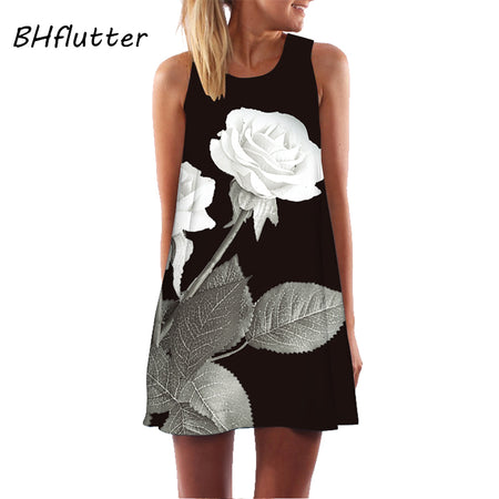 Rose Print Sleeveless Summer Dress with O-Neck