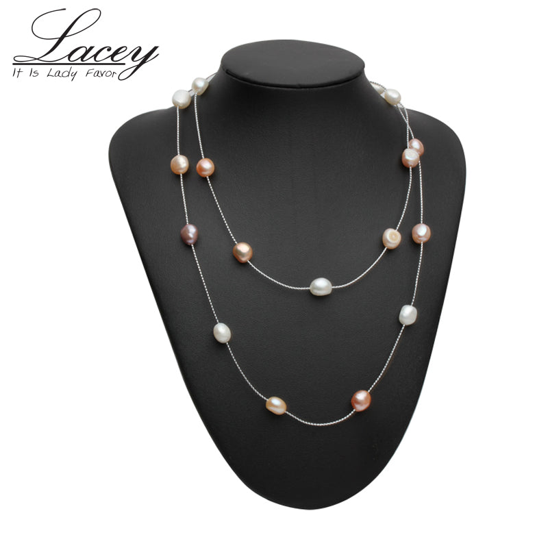 Natural Freshwater Bridal Bead Pearl Chain Necklace