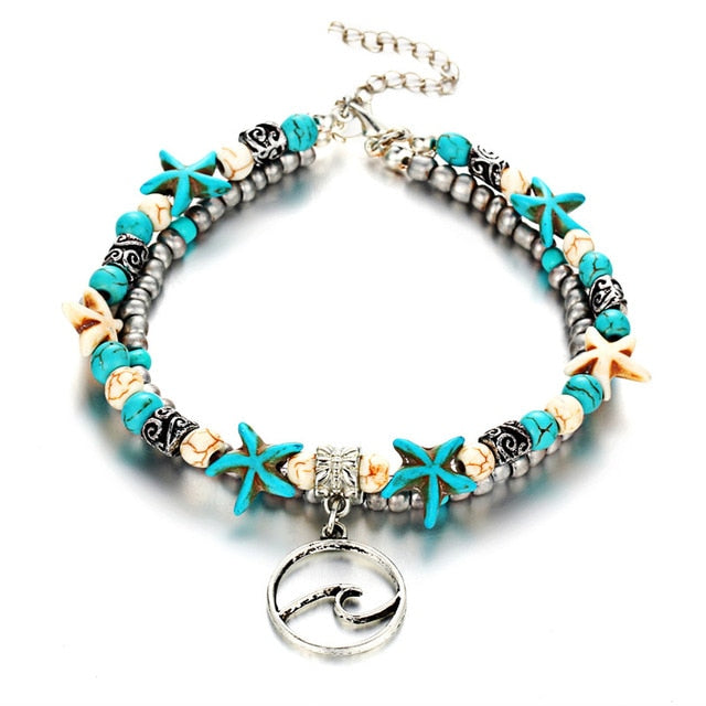 Multi Layer Starfish, Sea Turtle Anklets For Women