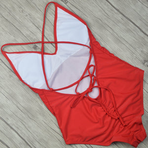 One Piece Solid Color Thong Backless Bathing Suit
