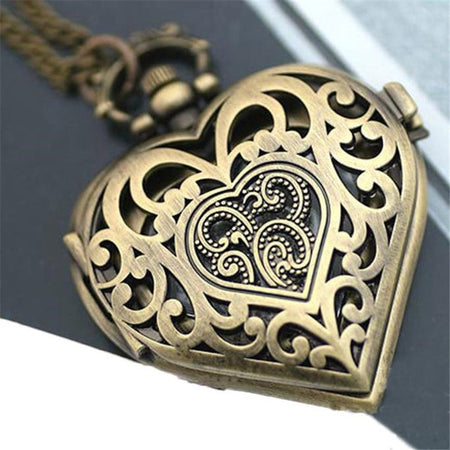 Women Necklace Hollow Heart-Shaped Pocket Watch Pendant