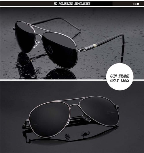 Over-sized Polarized Aviation Metal Alloy Frame Sunglasses