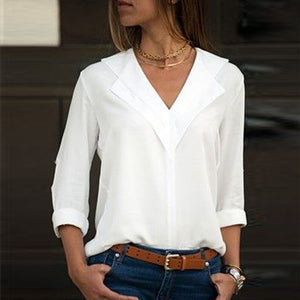 White Long Sleeve Double V-Neck Chiffon Blouse (Size SM - 5X)