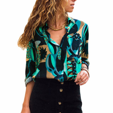 Long Sleeve, Loose Chiffon Blouse with Geometric Print  and Turn Down Collar (Sizes SM to 3X)
