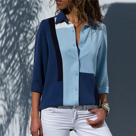 Long Sleeve, Turn Down Collar, Casual Chiffon Blouse (Size SM - 3X)