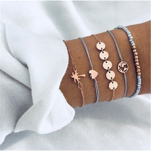 Bohemian Shell Map Fashion Turtle Bracelet Set