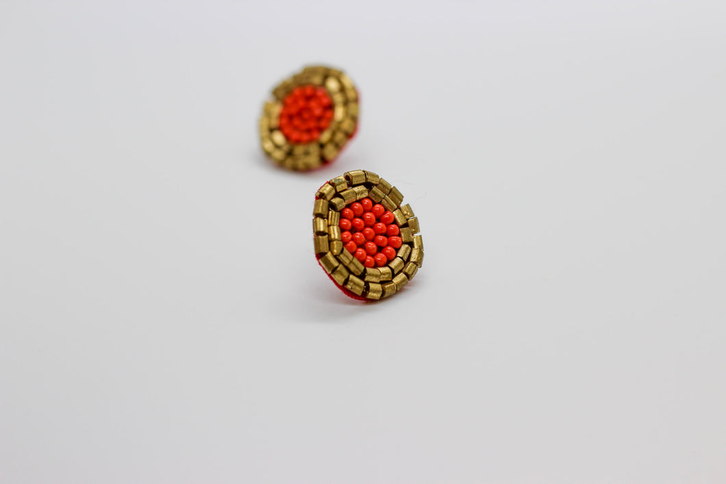 Rust and Gold Button Earrings