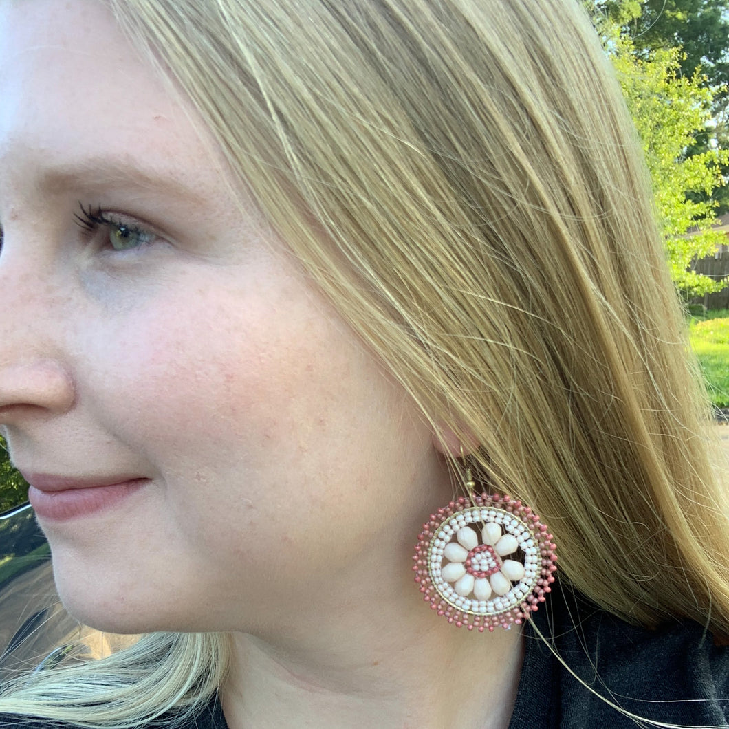 Flower-Power Mauve Earrings