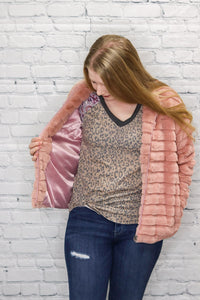 Faux Rabbit Fur Jacket Pink