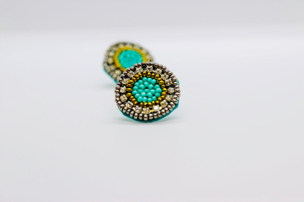 Turquoise and Stone Button Earrings