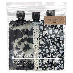 Black Refillable 3pc Travel Pouches
