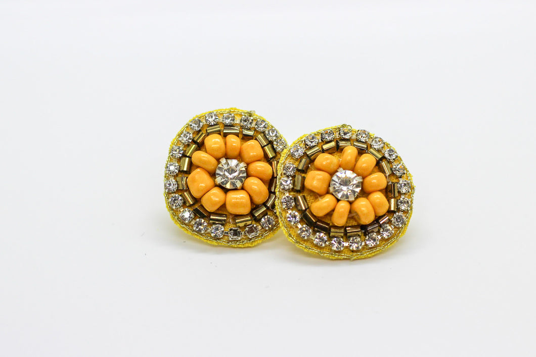 Mustard Button Earrings