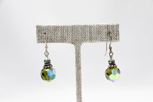 Sterling Olivine Crystal Earrings
