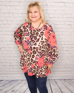 Leopard Neon Rose Tunic