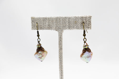 Blush Diamond Coin Pearl Earrings