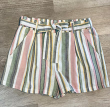 Load image into Gallery viewer, Striped Drawstring Linen Shorts
