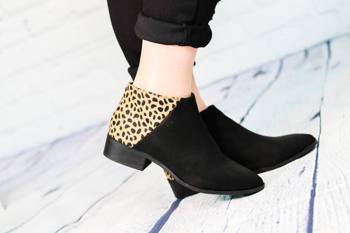 Occasion Leopard and Black Ankle Boot