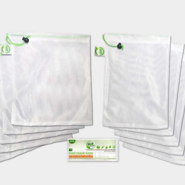 EATCLEANER® REUSABLE MESH PRODUCE BAGS – SET OF 10