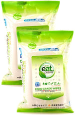 EATCLEANER® BIODEGRADABLE 32 CT. TRAVEL WIPES – 2 PACKS