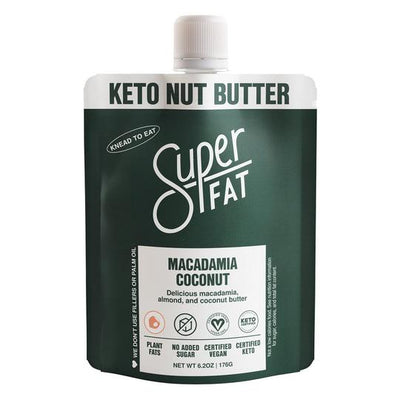 SuperFat Macadamia Coconut Nut Butter - 6.2oz Pouch - LARGE SIZE (6 servings)