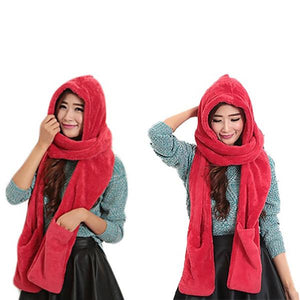 Conjoined Hat Scarf Gloves Set