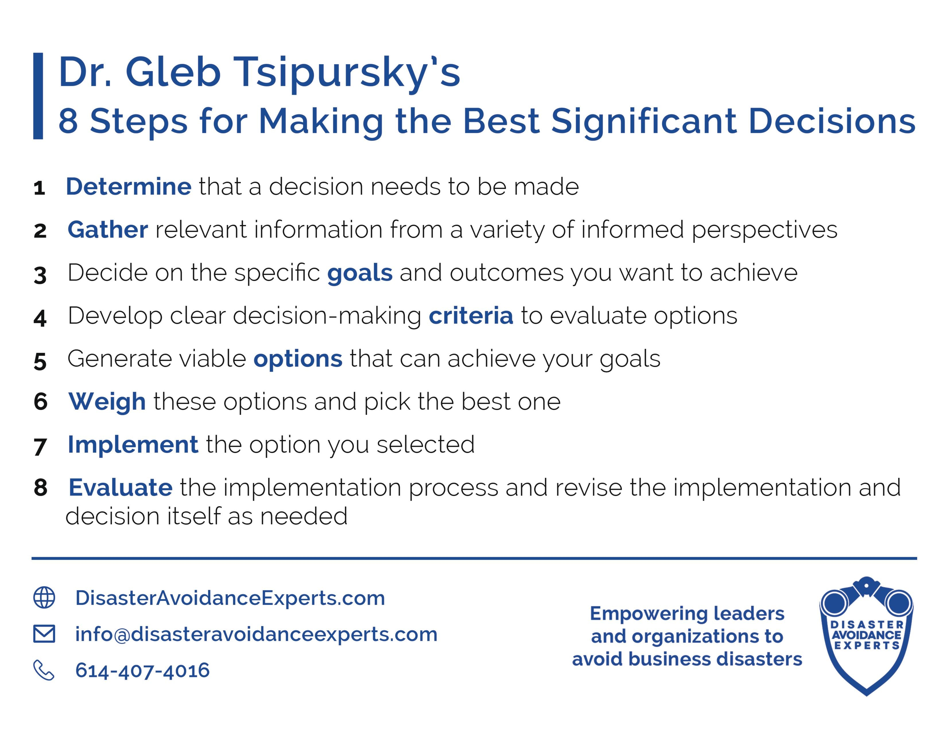 8 Steps for Making the Best Significant Decisions